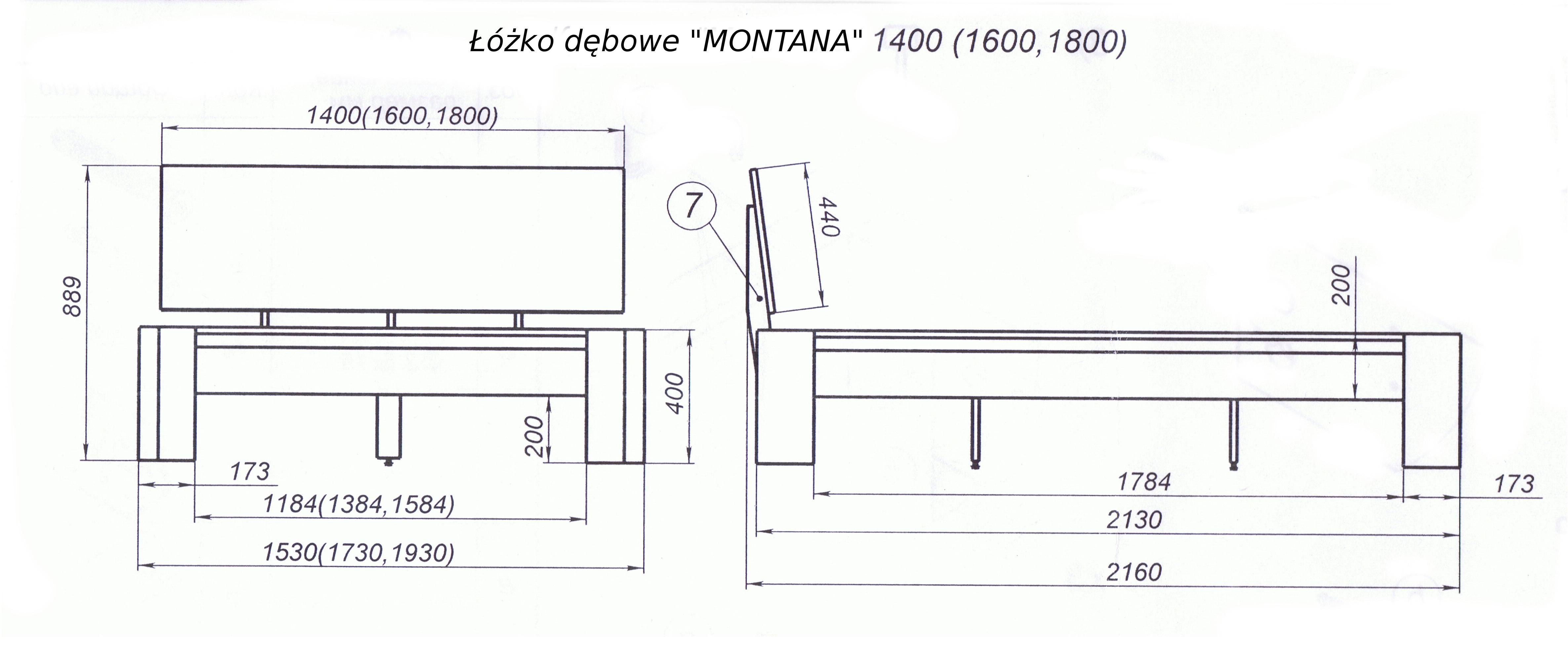 Rysunek techniczny łóżka MONTANA